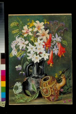 Chilian Lilies and other Flowers in Black Jug and ornamented Gourd for Mate